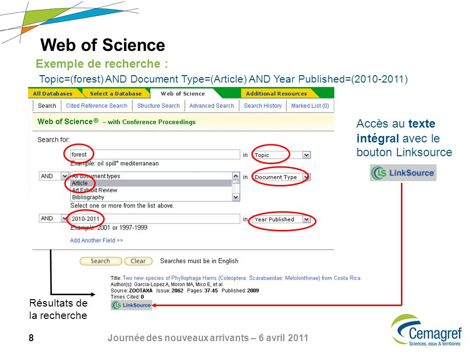 Web of Science Exemple de recherche : Topic=(forest) AND Document Type=(Article) AND Year Published=(2010-2011)