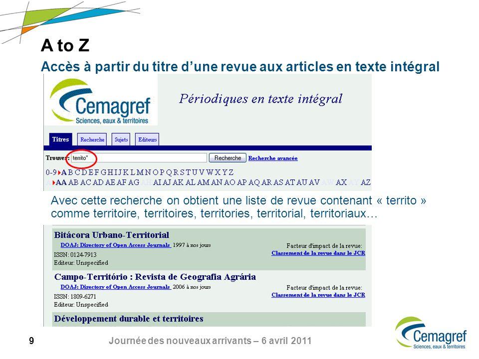 A to Z Accès à partir du titre d'une revue aux articles en texte intégral.