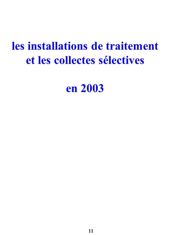 les installations de traitement et les collectes sélectives