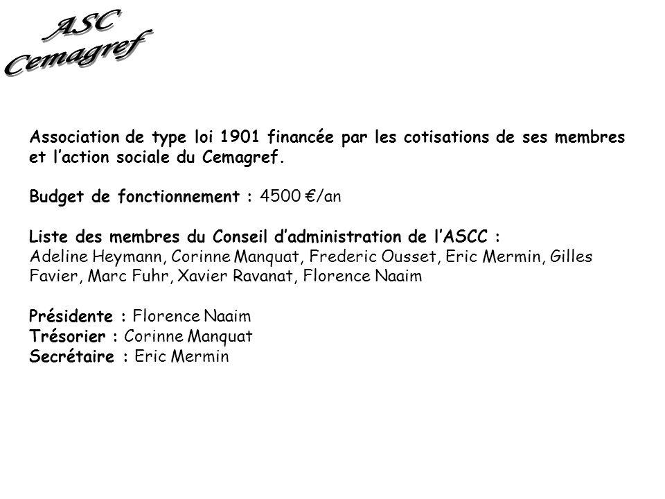 ASC Cemagref. Association de type loi 1901 financée par les cotisations de ses membres et l'action sociale du Cemagref.