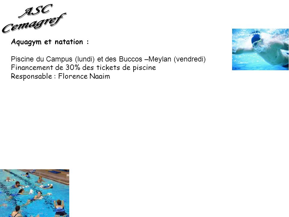 ASC Cemagref Aquagym et natation :