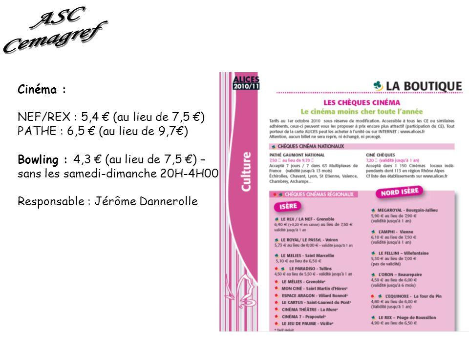 ASC Cemagref Cinéma : NEF/REX : 5,4 € (au lieu de 7,5 €)