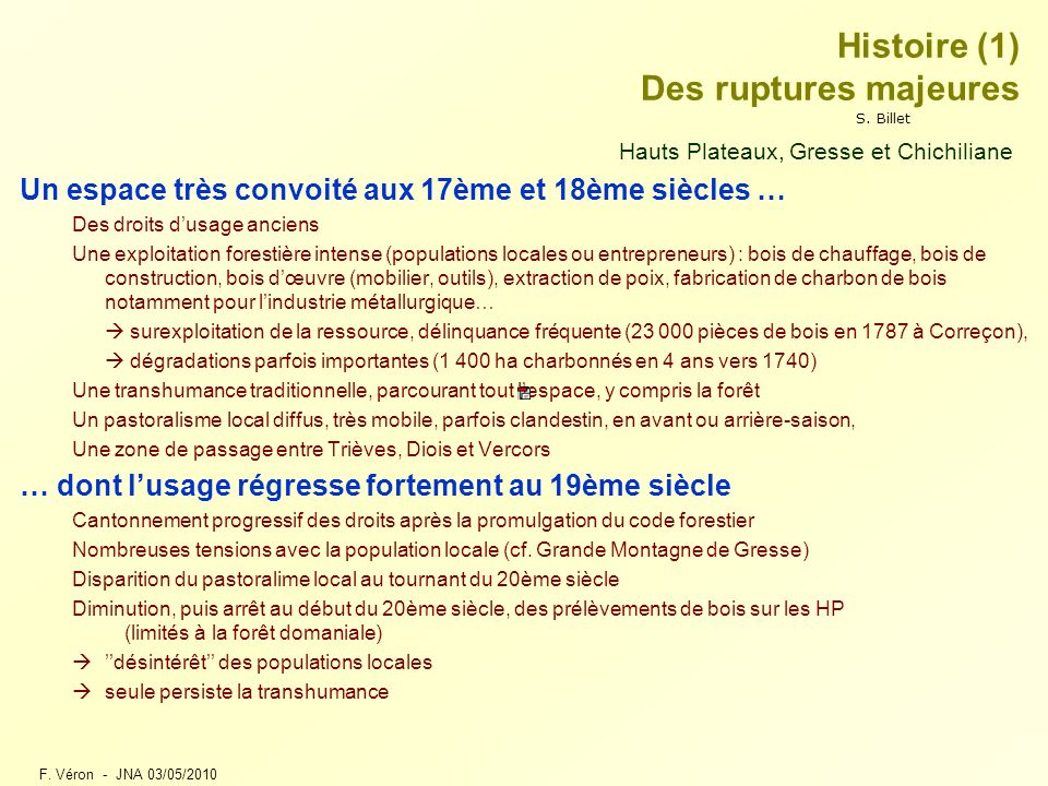 Histoire (1) Des ruptures majeures