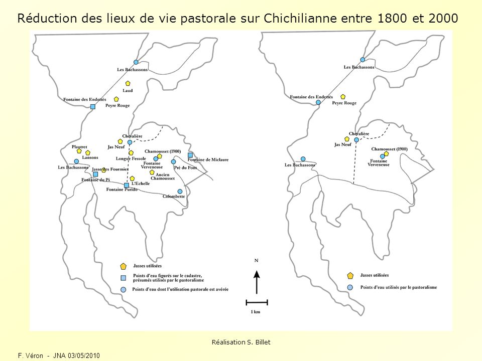 Réduction des lieux de vie pastorale sur Chichilianne entre 1800 et 2000