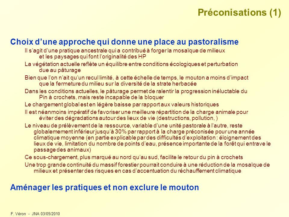 Préconisations (1) Choix d'une approche qui donne une place au pastoralisme.