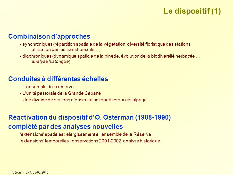 Le dispositif (1) Combinaison d'approches