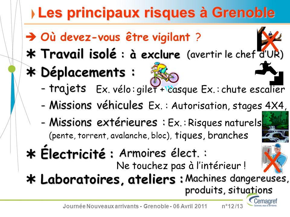 X X Les principaux risques à Grenoble  Travail isolé : à exclure