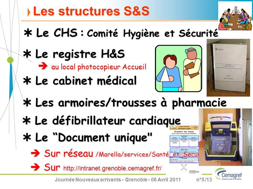 Les structures S&S  Le CHS : Comité Hygiène et Sécurité