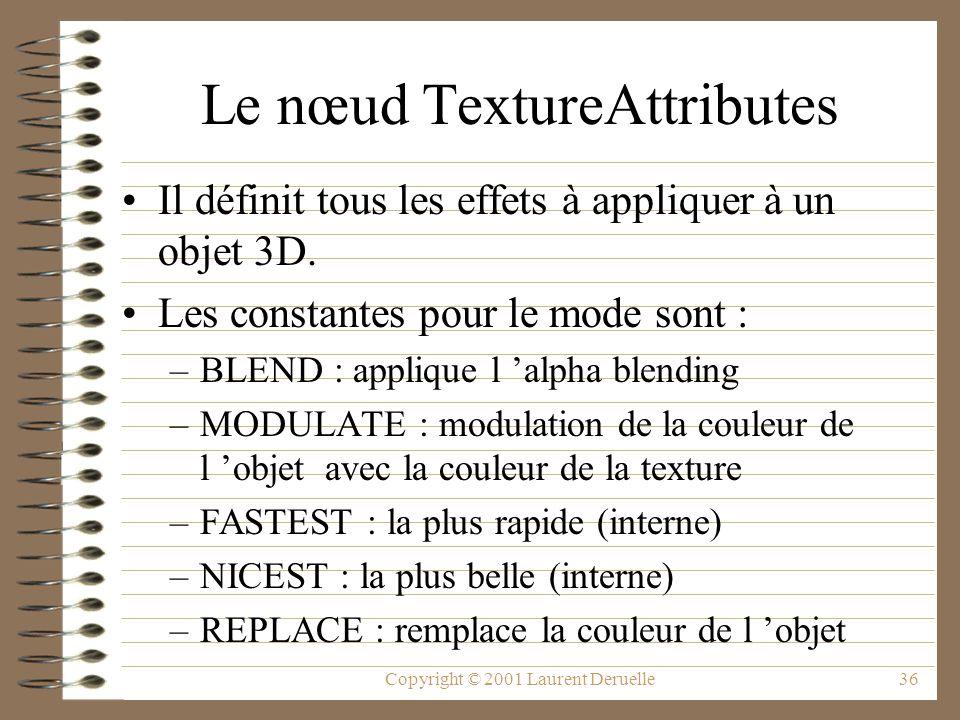 Le nœud TextureAttributes