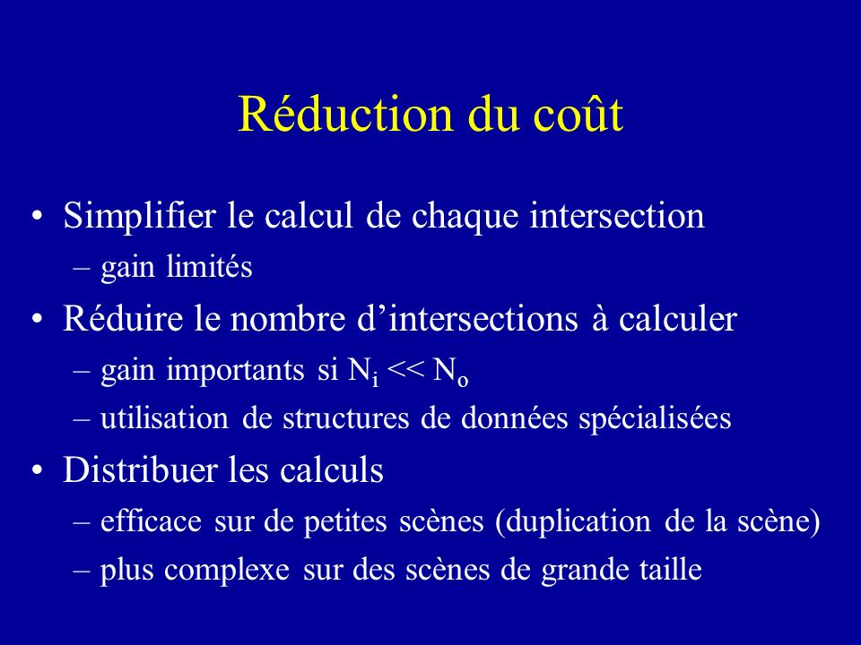 Réduction du coût Simplifier le calcul de chaque intersection