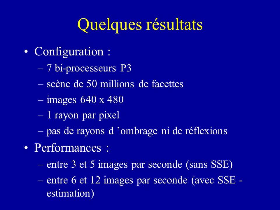 Quelques résultats Configuration : Performances : 7 bi-processeurs P3