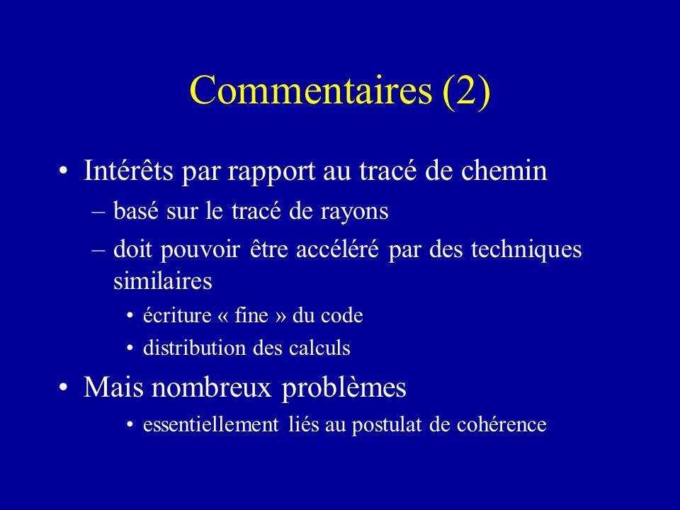 Commentaires (2) Intérêts par rapport au tracé de chemin