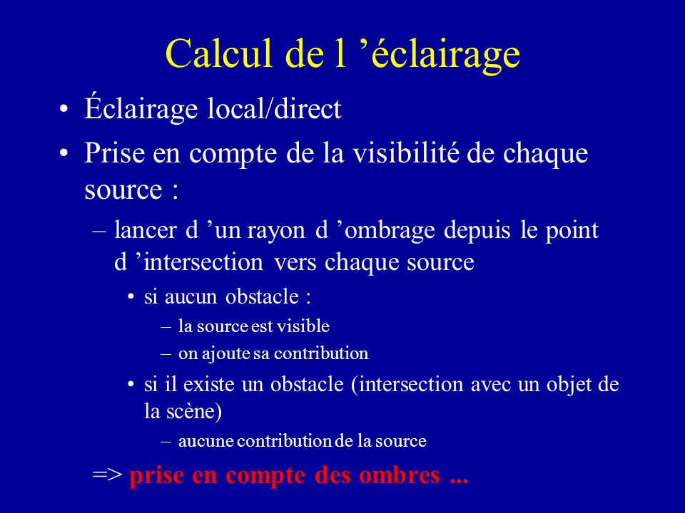 Calcul de l 'éclairage Éclairage local/direct