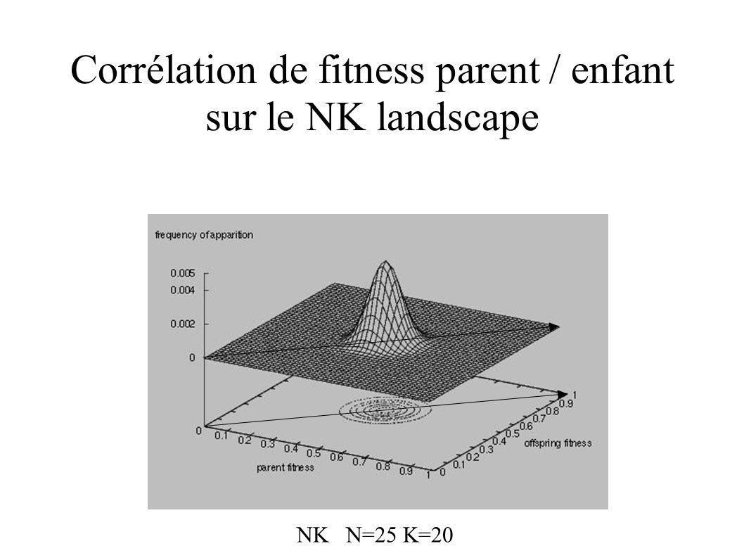 Corrélation de fitness parent / enfant sur le NK landscape