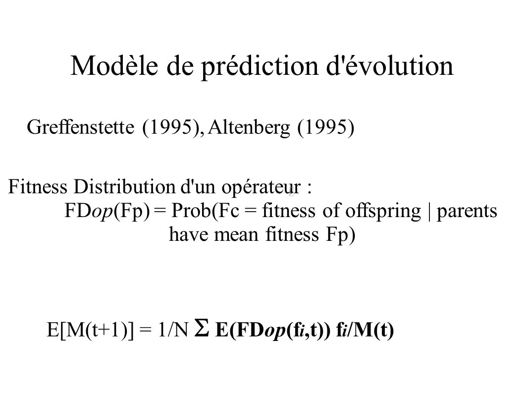 Modèle de prédiction d évolution