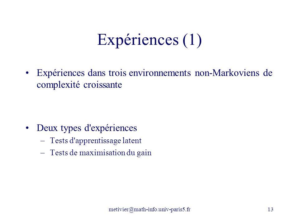 Expériences (1) Expériences dans trois environnements non-Markoviens de complexité croissante. Deux types d expériences.