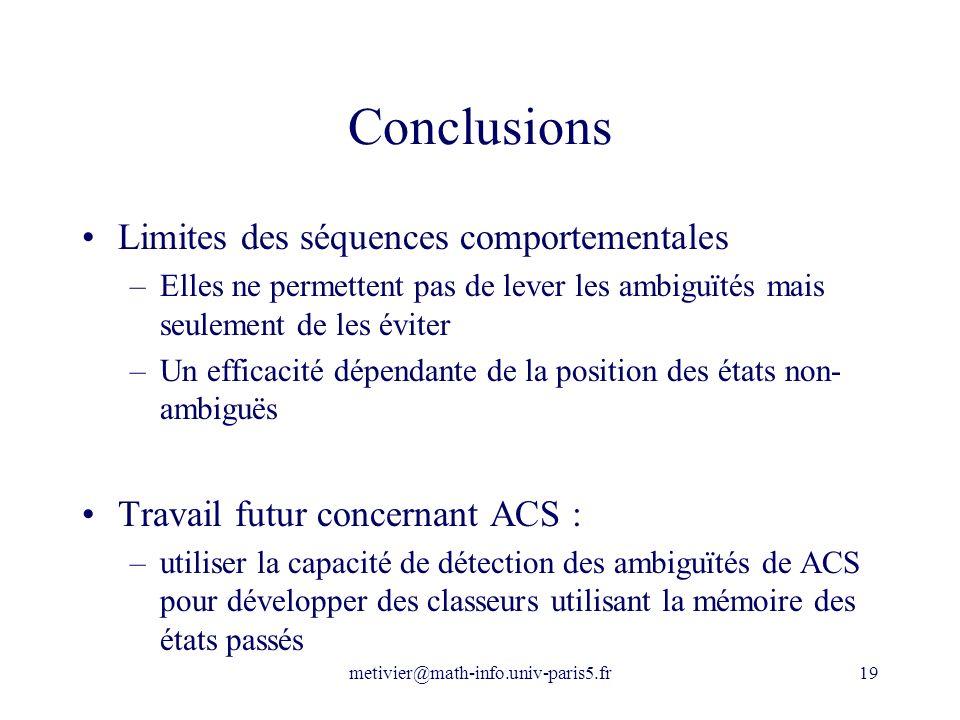 Conclusions Limites des séquences comportementales