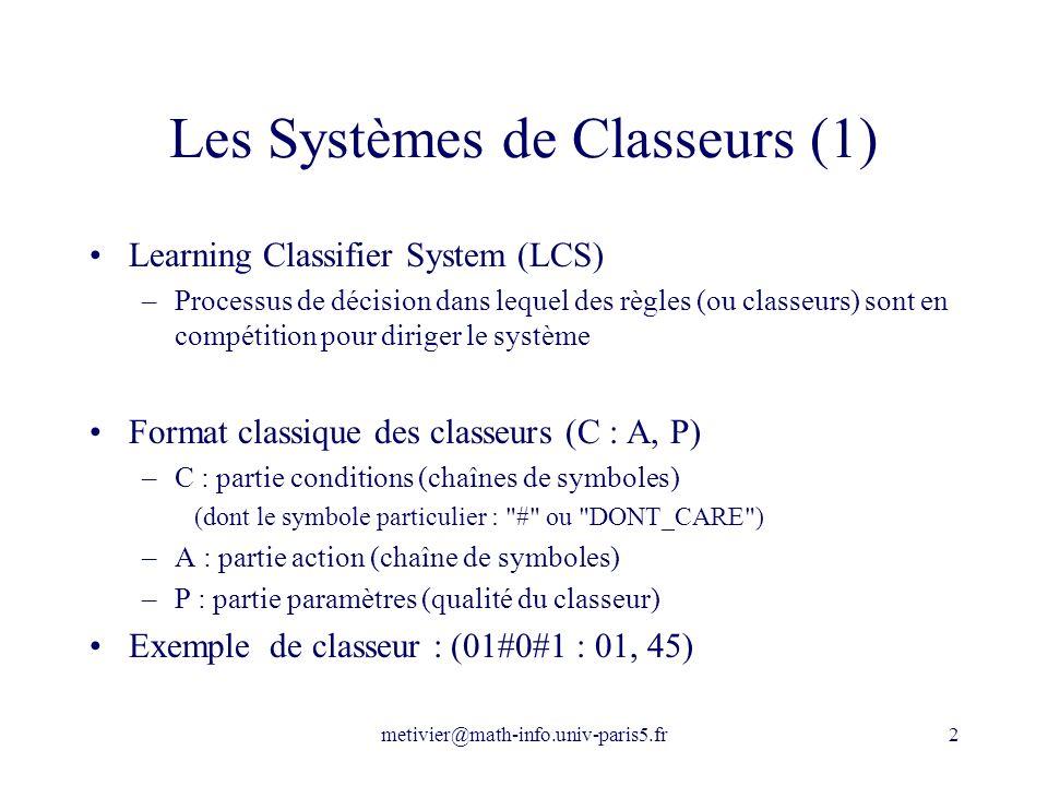 Les Systèmes de Classeurs (1)