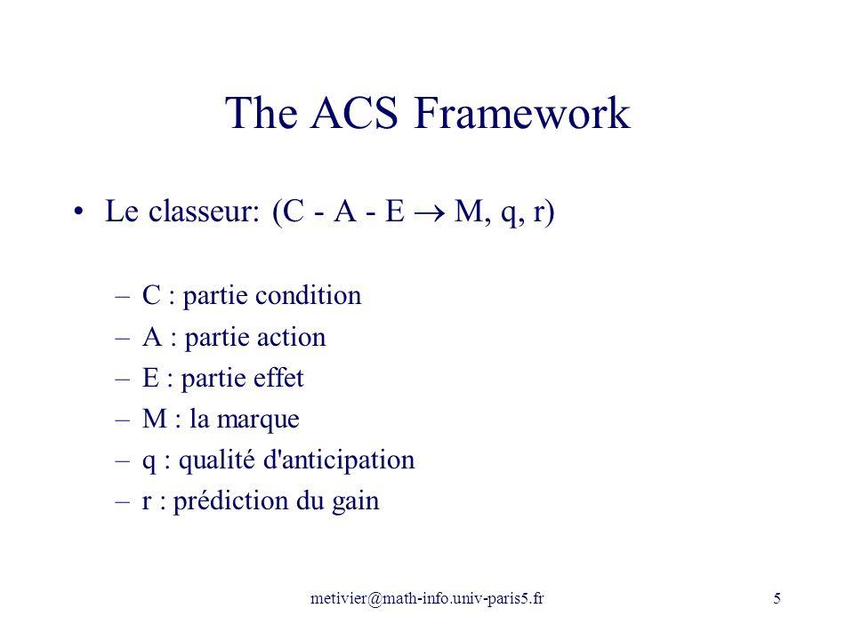 The ACS Framework Le classeur: (C - A - E  M, q, r)