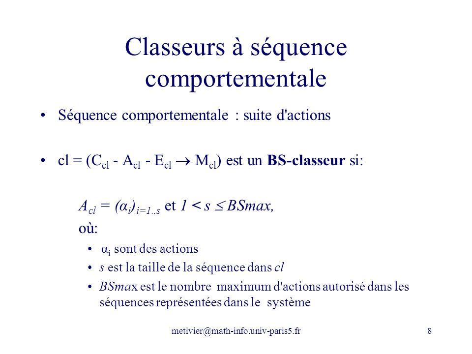 Classeurs à séquence comportementale