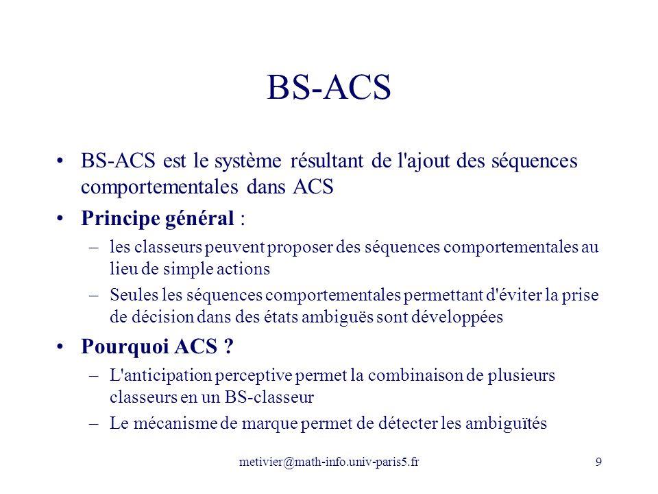 BS-ACS BS-ACS est le système résultant de l ajout des séquences comportementales dans ACS. Principe général :