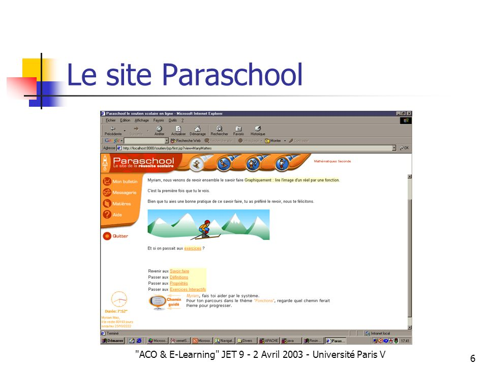 ACO & E-Learning JET 9 - 2 Avril 2003 - Université Paris V