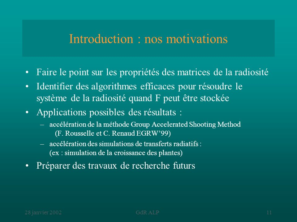 Introduction : nos motivations