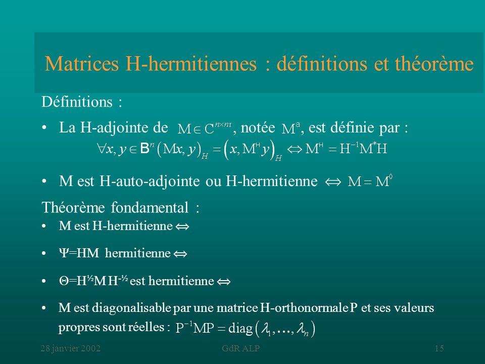 Matrices H-hermitiennes : définitions et théorème