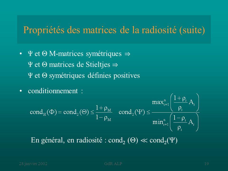 Propriétés des matrices de la radiosité (suite)