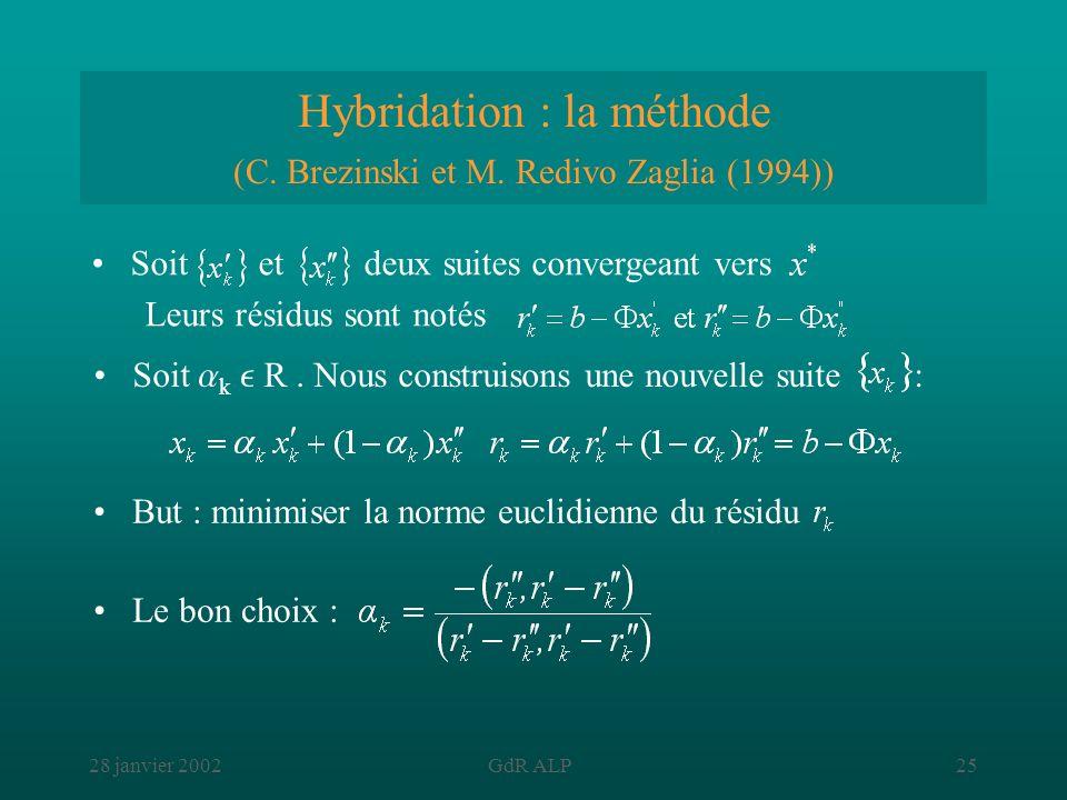 Hybridation : la méthode (C. Brezinski et M. Redivo Zaglia (1994))