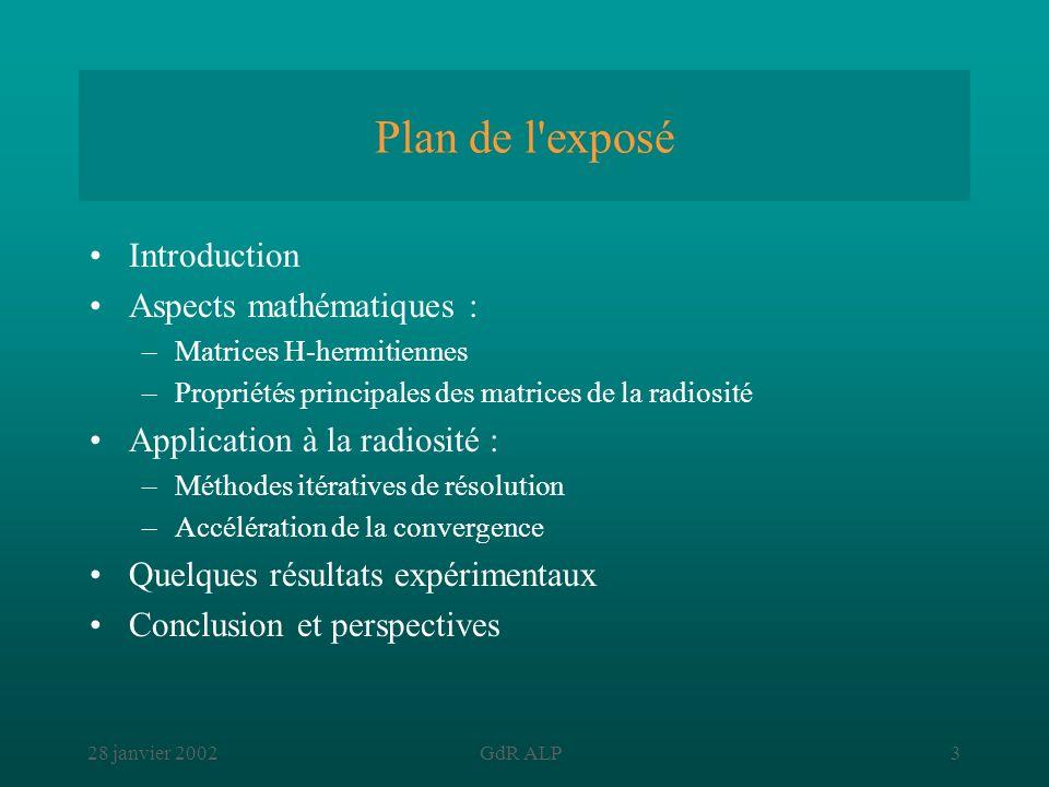 Plan de l exposé Introduction Aspects mathématiques :