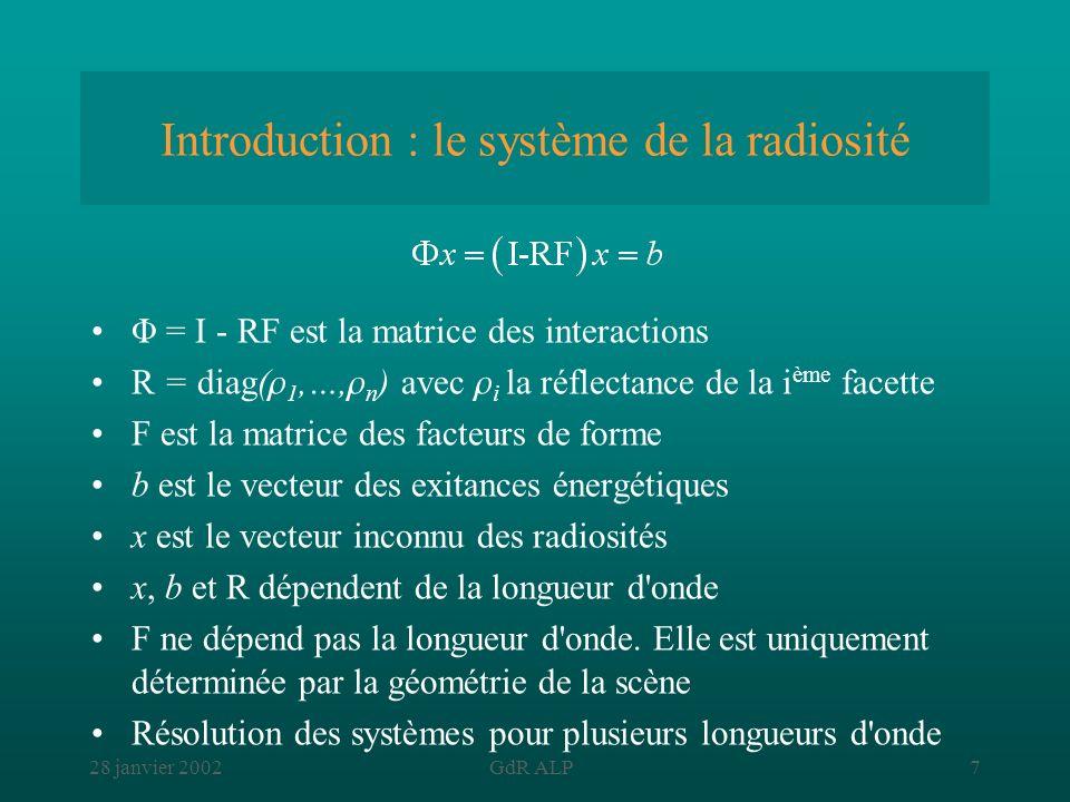 Introduction : le système de la radiosité