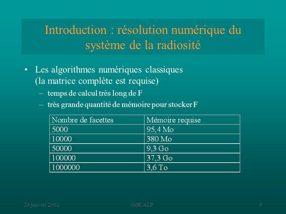 Introduction : résolution numérique du système de la radiosité