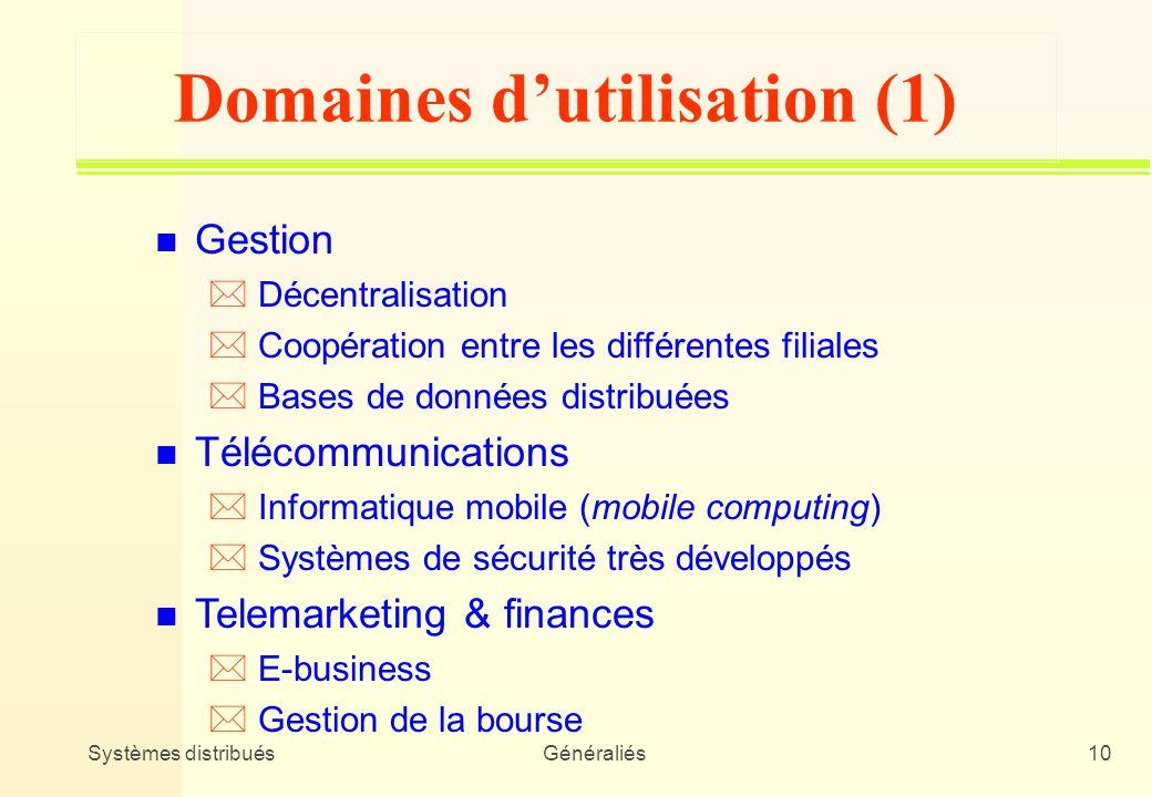 Domaines d'utilisation (1)