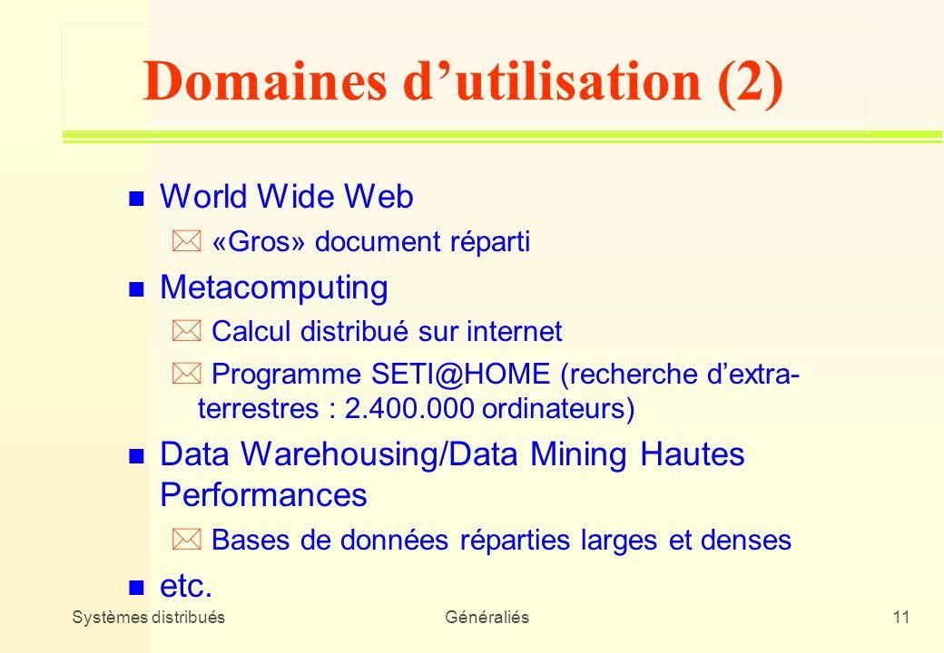 Domaines d'utilisation (2)
