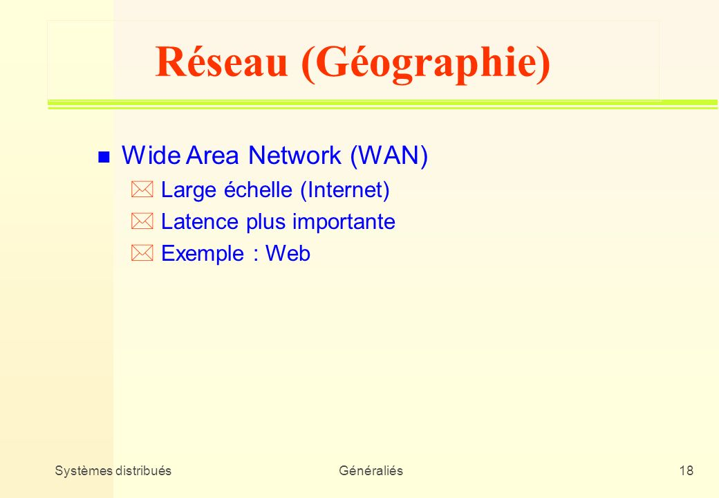 Réseau (Géographie) Wide Area Network (WAN) Large échelle (Internet)