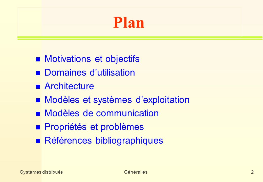 Plan Motivations et objectifs Domaines d'utilisation Architecture