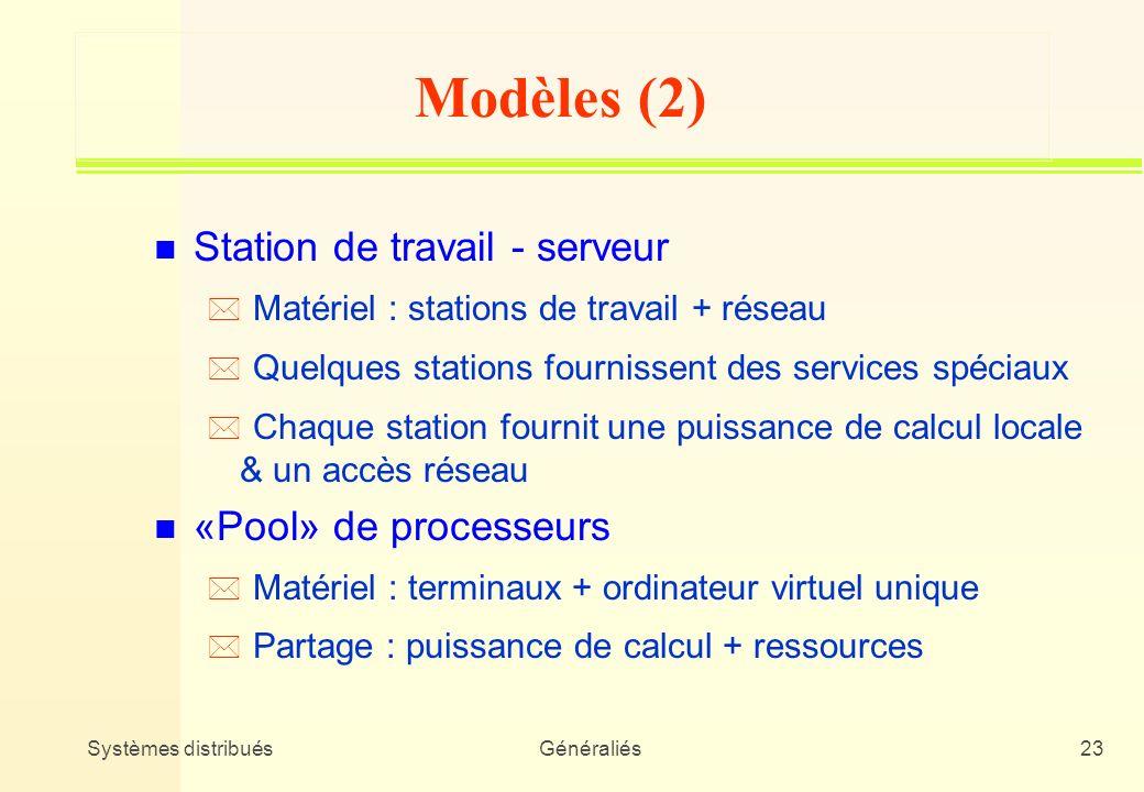 Modèles (2) Station de travail - serveur