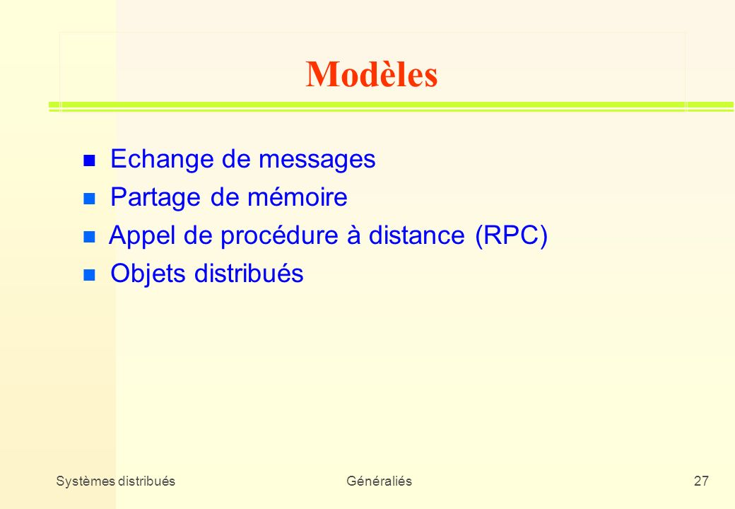 Modèles Echange de messages Partage de mémoire