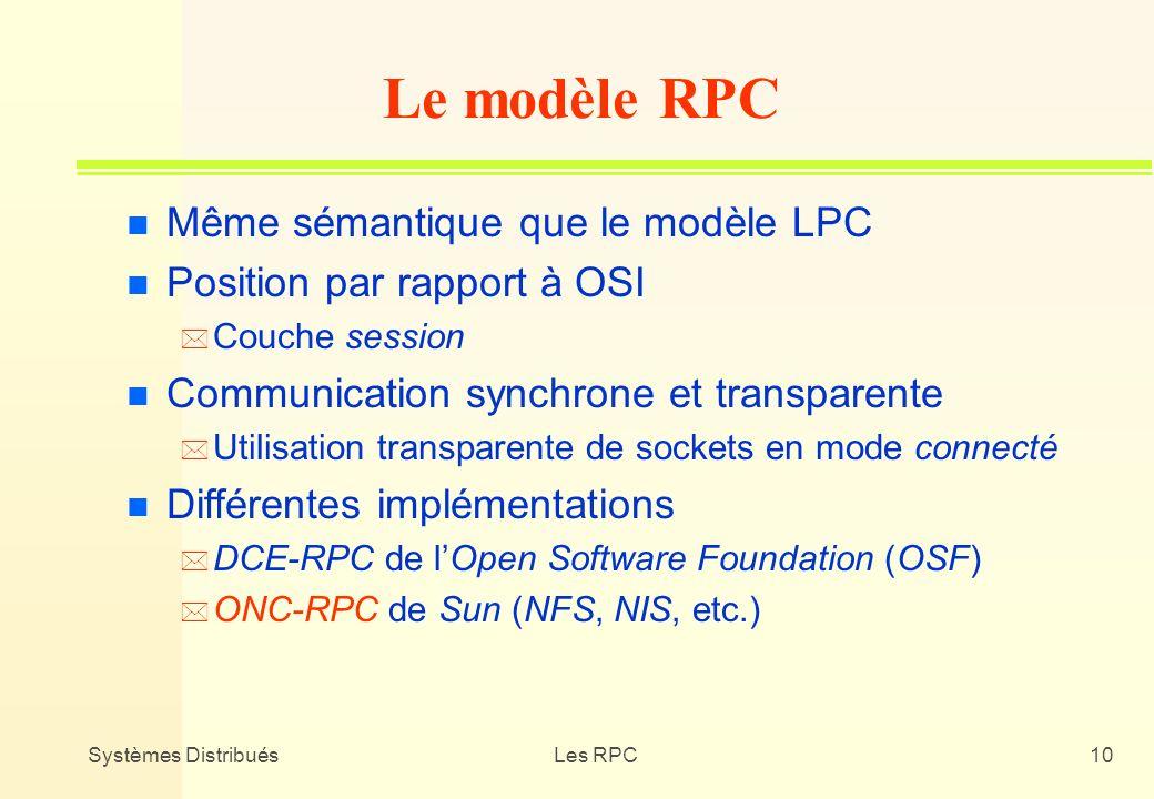 Le modèle RPC Même sémantique que le modèle LPC