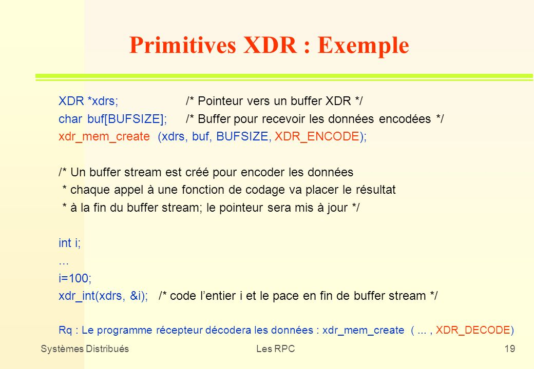 Primitives XDR : Exemple
