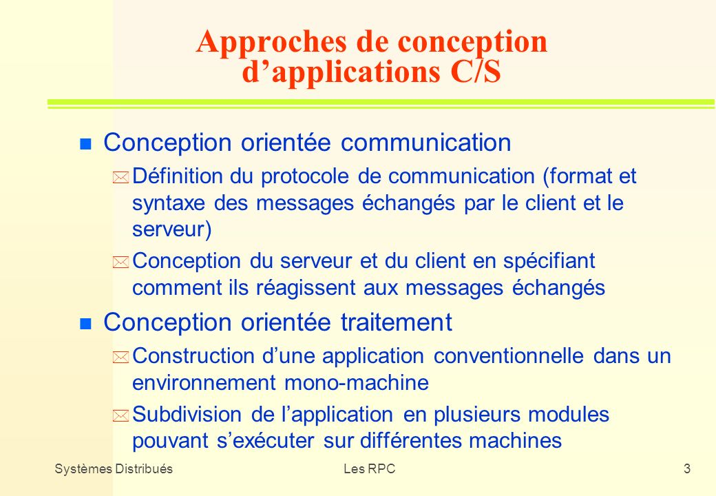 Approches de conception d'applications C/S