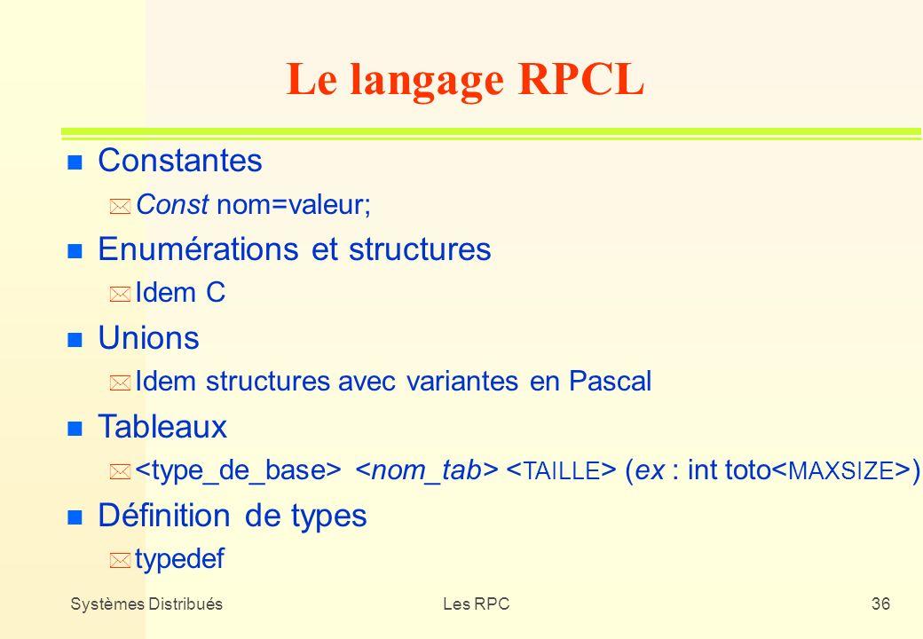 Le langage RPCL Constantes Enumérations et structures Unions Tableaux