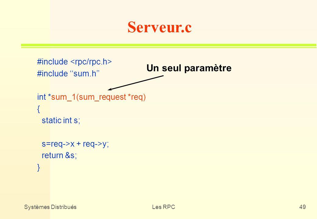 Serveur.c Un seul paramètre #include <rpc/rpc.h>