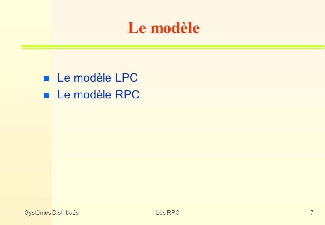 Le modèle Le modèle LPC Le modèle RPC Systèmes Distribués Les RPC