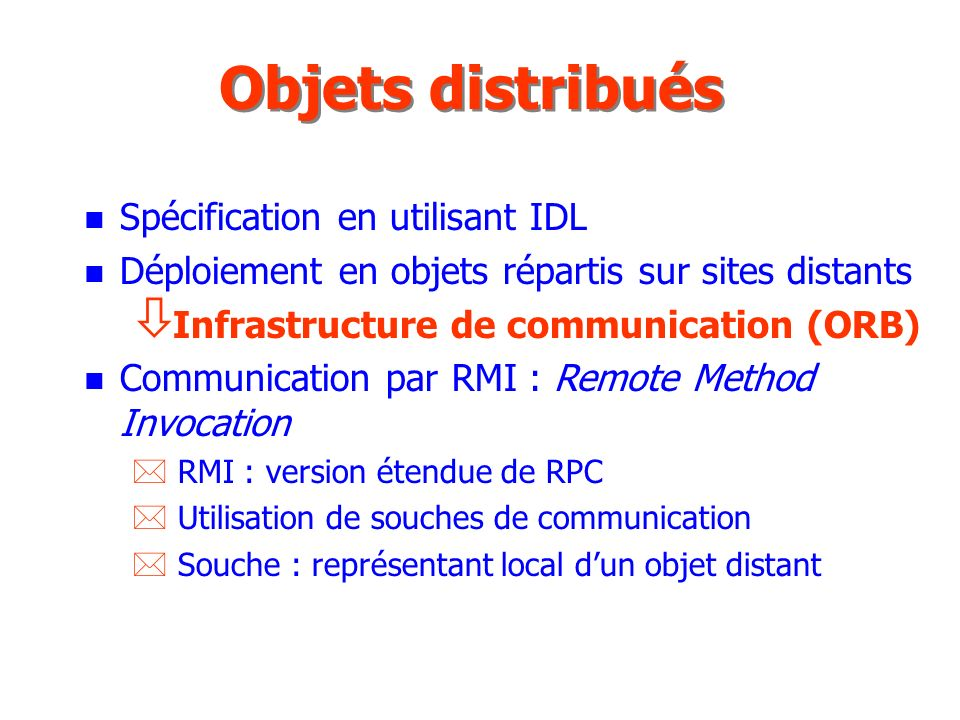 Objets distribués Spécification en utilisant IDL