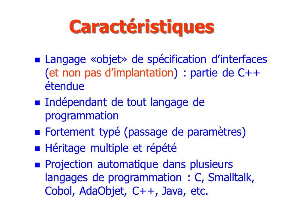 CaractéristiquesLangage «objet» de spécification d'interfaces (et non pas d'implantation) : partie de C++ étendue.