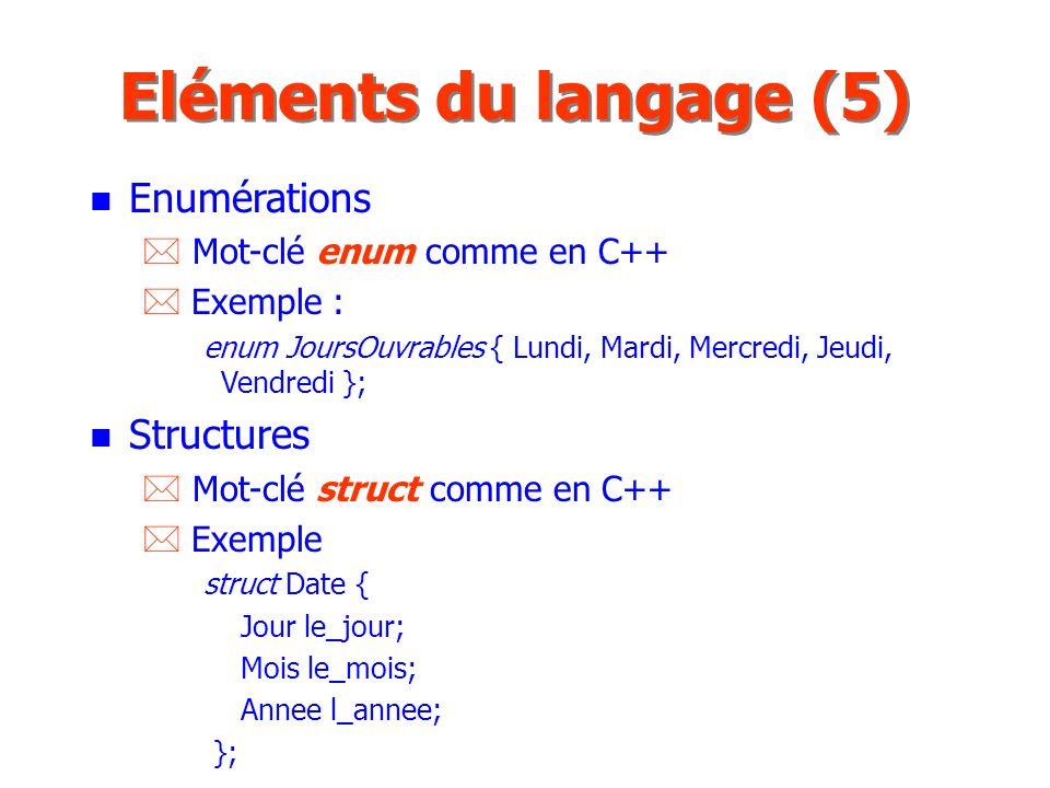 Eléments du langage (5) Enumérations Structures