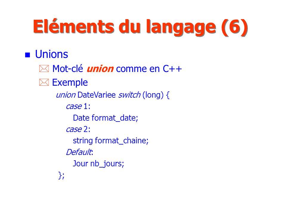 Eléments du langage (6) Unions Mot-clé union comme en C++ Exemple