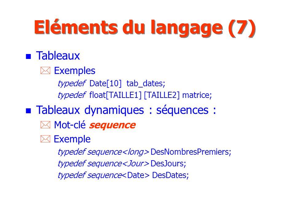 Eléments du langage (7) Tableaux Tableaux dynamiques : séquences :